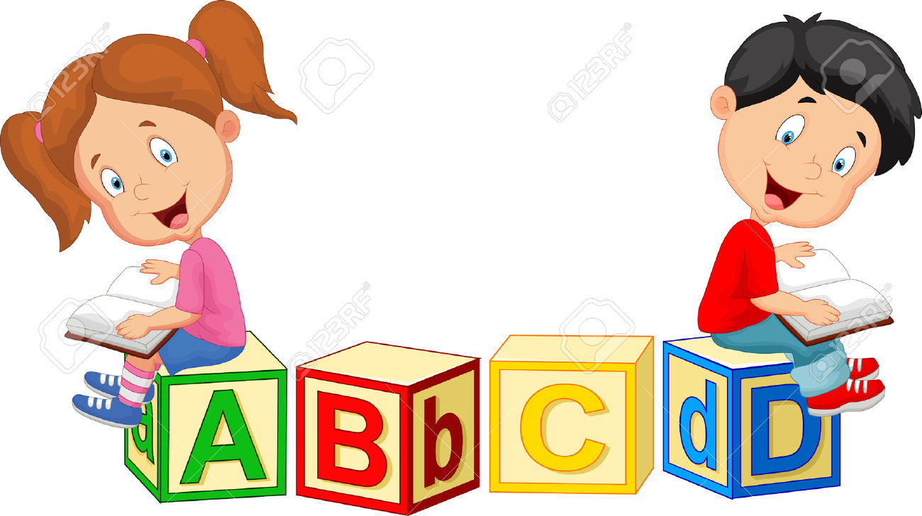 37538179 Children cartoon reading book and sitting on alphabet blocks Stock Vector